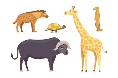 alligator isolated: African animals cartoon vector set. elephant, rhino, giraffe, cheetah, zebra, hyena, lion hippo crocodile gorila and outhers safari isolated illustration