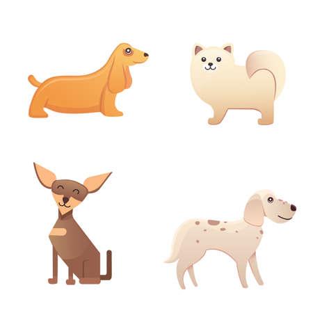 dalmatian: Different type of cartoon dogs. happy dog set vector illustration.