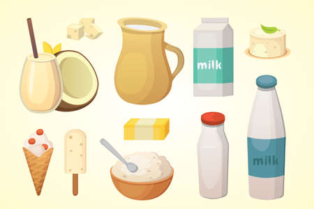 Fresh organic milk products set with cheese, butter, coffee, sour cream and ice cream.