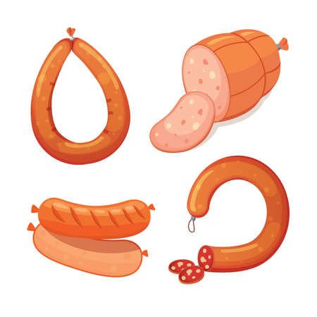 Set of vector cartoon sausage. Bacon, sliced Salami and Smoked Boiled. Isolated fresh Delicatessen icons. Grilled product on a white background