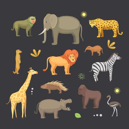gorila: African animals cartoon vector set. elephant, rhino, giraffe, cheetah, zebra, hyena, lion, hippo, crocodile, gorila and outhers. safari isolated illustratio.