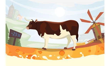 udders: Cute cow with milk river Vector illustration. colorful landscape fith farm Illustration