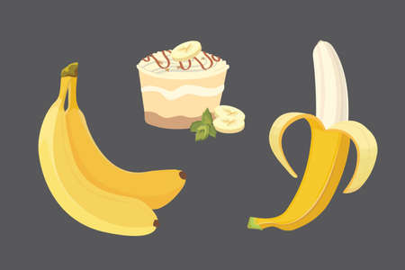 Fresh banana fruits, collection of vector illustrations. Peeled and sliced bananas