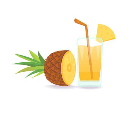 Composition of Pineapple on white background flat illustration tropical fruit. Illustration