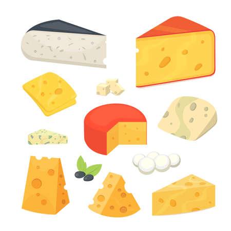 Types de fromage Icônes d'illustration vectorielle réaliste plat style réaliste. Parmesan isolé ou cheddar frais sur fond blanc. Vecteurs