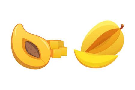mango slice: Mango yellow Fruit Isolated Vector illustration. Ripe fresh mangoes Illustration