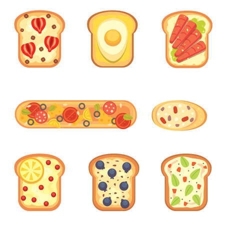 pareja comiendo: Set toasts and sandwich breakfast. Bread toast with jam, egg, cheese, blueberry, peanut butter, salami, fish. Flat vector illustration.