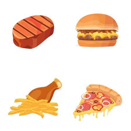 脂肪食品ベクトル アイコン イラスト。漫画コレクション