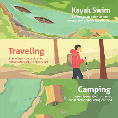Colorful banner set for your business, web sites etc. Best trips, camping and kayaking.