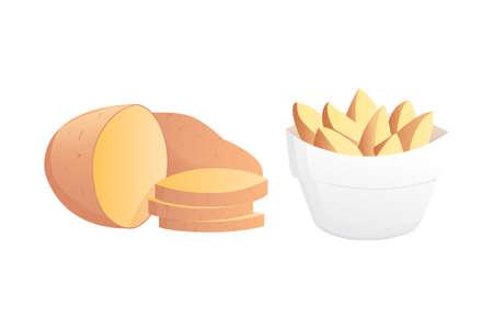 Ilustración del vector Set Potatoes. Papa aislada en el fondo blanco. Vectores