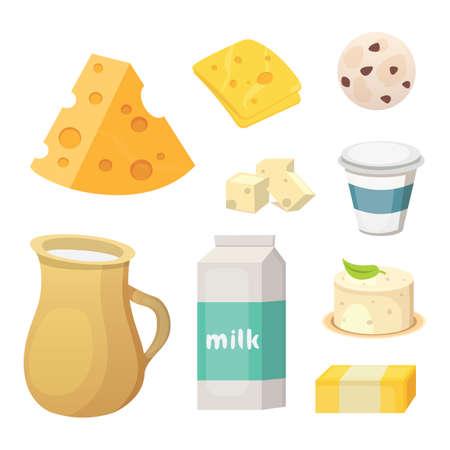 Prodotti lattiero-caseari freschi con formaggio, burro, caffè, panna acida e gelato.