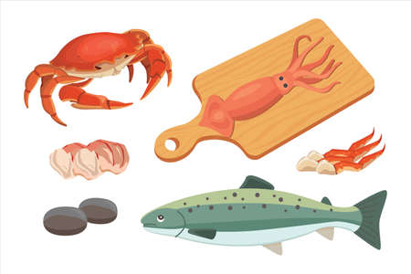 crab meat: Vector Seafood illustrations set flat fresh fish and crab. Lobster and oyster, shrimp and menu, octopus animal, shellfish lemon