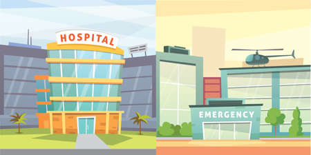 Set Hospital building cartoon modern vector illustration. Medical Clinic and city background. Emergency room exterior. Ilustração