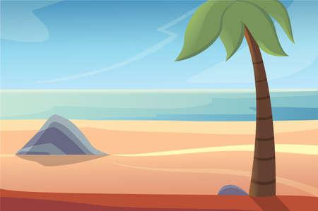 beautiful beach lanscape vector illustration