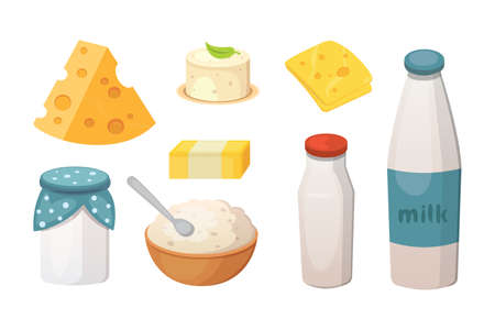 Fresh organic milk products set with cheese, butter, sour cream .