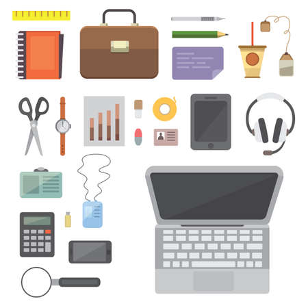 pen and marker: Workplace with mobile devices and documents. Office personal and Business Icons vector set. work table with gadget laptop flat illustration. Stock Photo