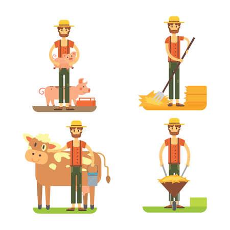 farmers using agricultural tools. Set farmer vector Stock Photo