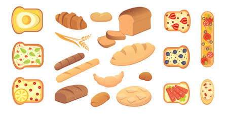 different breads and bakery products vector illustrations. Buns for breakfast. set bake food and toast isolated. Illustration
