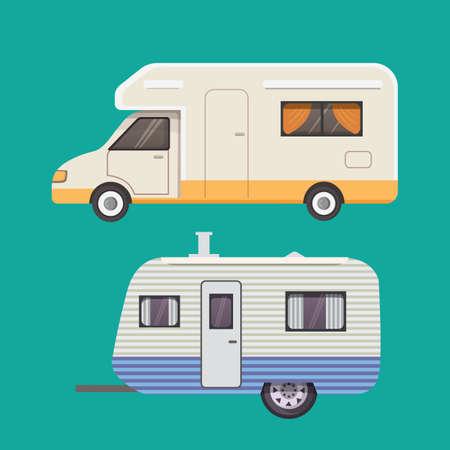 Retro camper trailer collectie. aanhangwagens caravan. toerisme.
