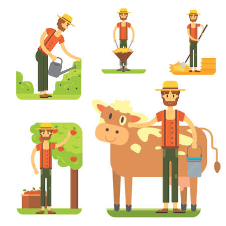 farmers using agricultural tools. Set farmer vector Illustration