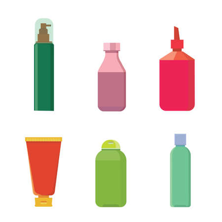 Cosmetic bottles vector color set. Beauty shampoo bottle and container with cosmetic for skin isolated illustration