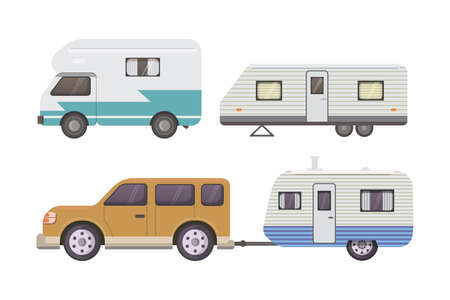 family van: Retro camper trailer collection Illustration