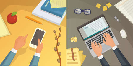 writer: Flat design top view on desk concept