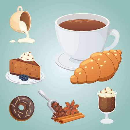 Cup of coffee, cappuccino, latte and chocolate food. Sweet deserts time. Illustration