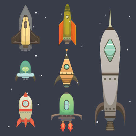 fly up: Rocket ship in cartoon style. New Businesses Innovation Development Flat Design Icons Template. Space ships illustrations set.
