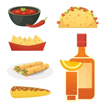 Mexican cuisine vector cartoon dishes illustration set.