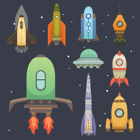 fly up: Rocket ship in cartoon style. New Businesses Innovation Development Flat Design Icons Template. Space ships illustrations set Stock Photo