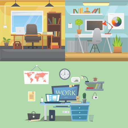 modern interior: Office interiors horizontal banners. Bussines workplace with computer and table. Illustration