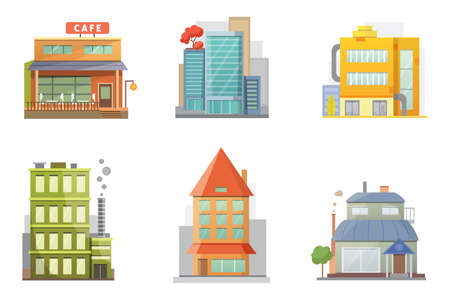 garage on house: Flat design urban landscape illustration. Street with old buildings and skyscrapers in the background