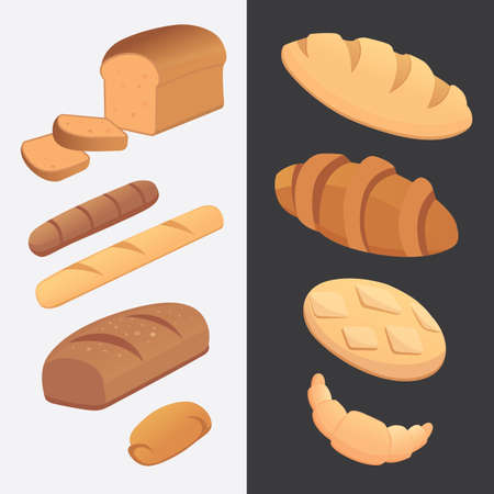 different breads and bakery products vector illustrations. Buns for breakfast. set bake food and toast isolated