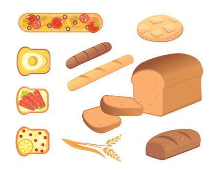 produits céréaliers: Différentes illustrations vectorielles de pains et de produits de boulangerie. Pains pour le petit-déjeuner. mettre cuire les aliments et les toasts isolés