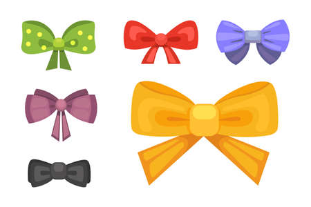 Cartoon cute gift bows with ribbons.