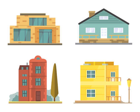 residental: Cottage and assorted real estate building icons. Illustration