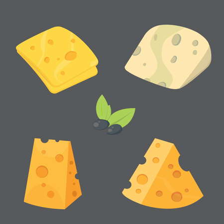 Cheese types cartoon style vector illustration icons