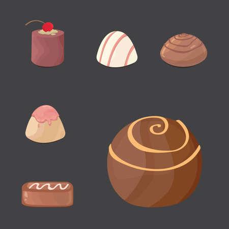 vector set of chocolate candies. cartoon illustartion on dark background.