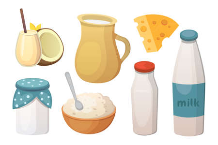 Fresh organic milk products set with cheese illustration.