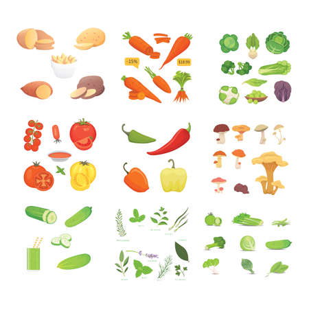 |A Farming production, vegetables icons set. Healthy food.