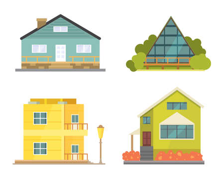 residental: Cottage and assorted real estate building icons. Residential house collection in new cartoon style