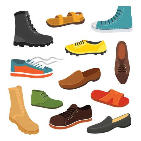 Männliche Mann Saison Schuhe in flache. Männer Stiefel isoliert Set Vektor-Illustration Standard-Bild - 83363433