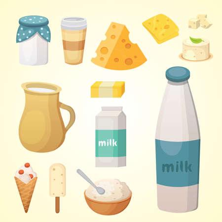 Prodotti lattiero-caseari freschi con formaggio Vettoriali