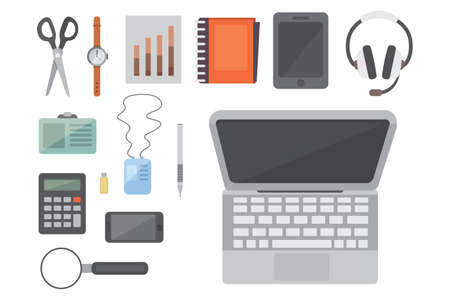 stylus: Workplace with mobile devices and documents. Office personal and Business Icons vector set. work table with gadget laptop flat illustration