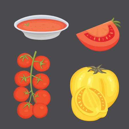 Collection of fresh red tomatoes and soup vector illustrations. Half, slice, cherry tomato.
