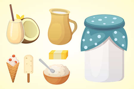 Fresh organic milk products set with cheese Illustration