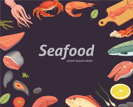 Vectorzeevruchtenillustraties geplaatst vlakke verse vissen. Stock Illustratie