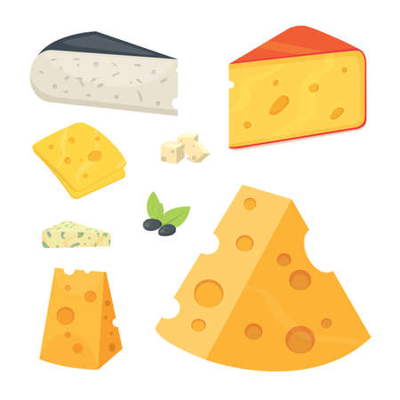 cheddar: Cheese types in cartoon style vector illustration icons.