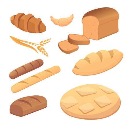 pretzel: different breads and bakery products vector illustrations. Buns for breakfast. set bake food and toast isolated. Illustration